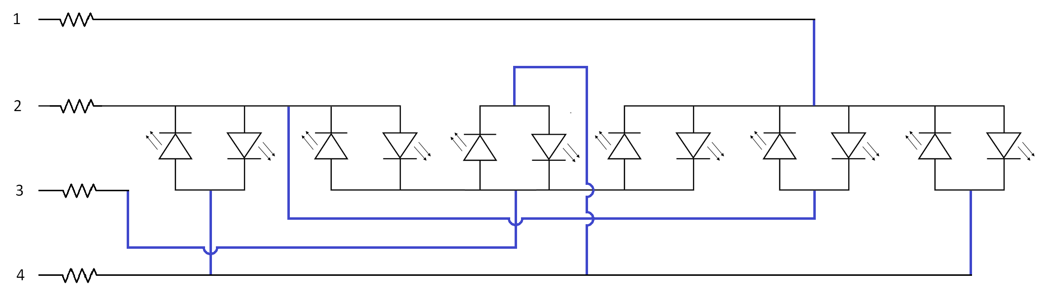 Tactical Tinkering 3v Led Chaser Circuit Diagram Super The Black Lines Being Rails Or Pins And Blue Wires Resistors Are Necessary To Protect Microcontroller Prolong Life Off